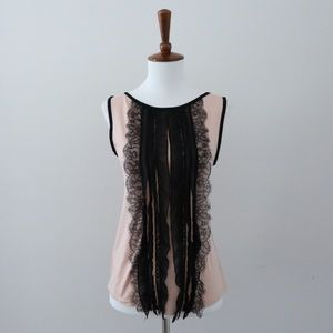 Ann Taylor Pink Tank with Black Lace Front Detail